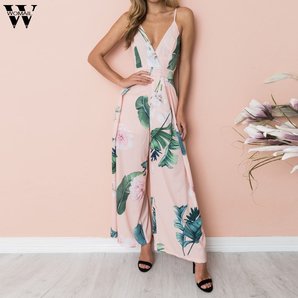 Womail bodysuit Women Summer Casual Print Strappy Holiday Long Playsuits Trouser Loose   Jumpsuit   fashion 2019 dropship M1