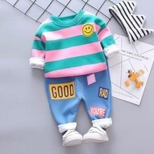 купить Baby Girl Boy Clothing Sets Autumn Winter Infant Clothes Suits Plus Thick Velvet Stripe Smiley Face T Shirt Pants Child Costume по цене 760.08 рублей