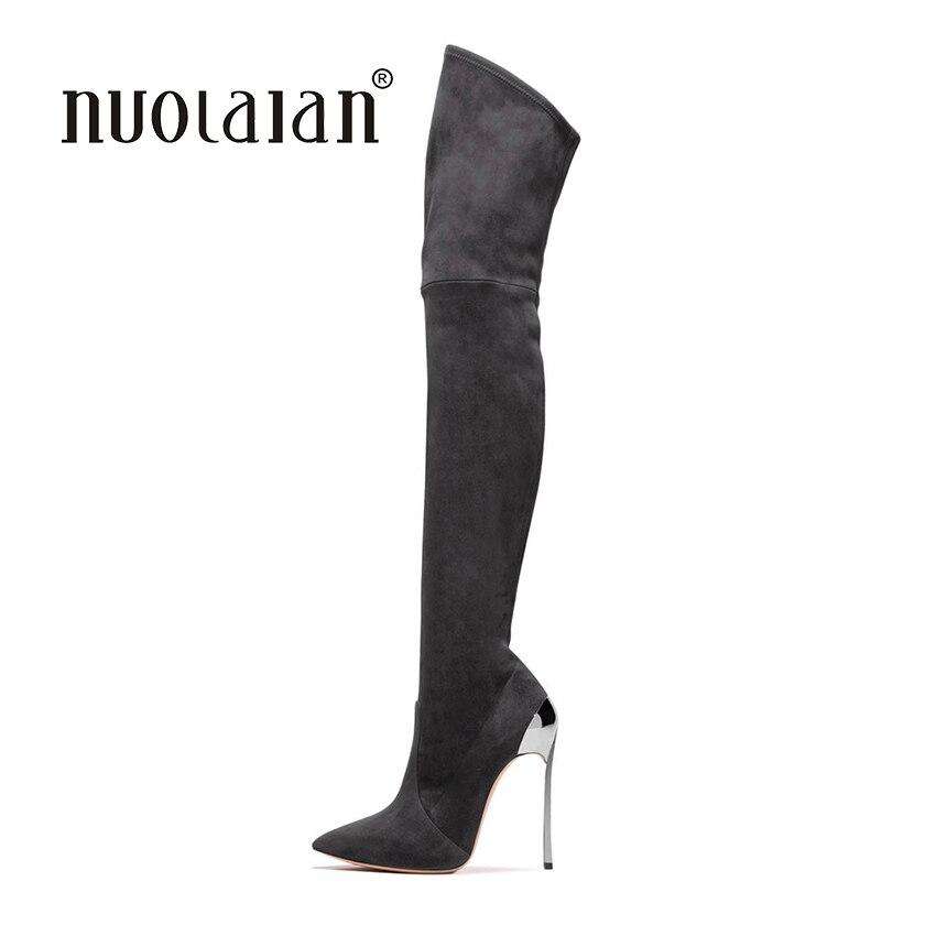 2018 г. женские облегающие сапоги Сапоги выше колена для Женская мода зимняя и осенняя женская обувь Женские ботинки