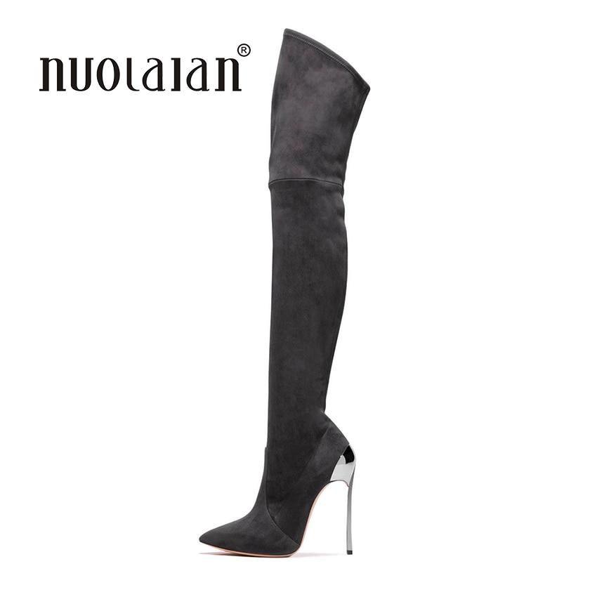 2018 femmes cuissardes bottes sur le genou bottes pour femmes mode hiver et automne femme chaussures botas mujer femininas