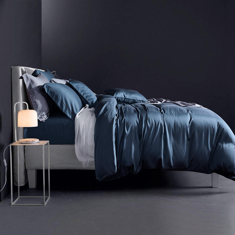 Solid color summer soft tencel silk bed sheet fitted sheet king size queen bedding set Blue