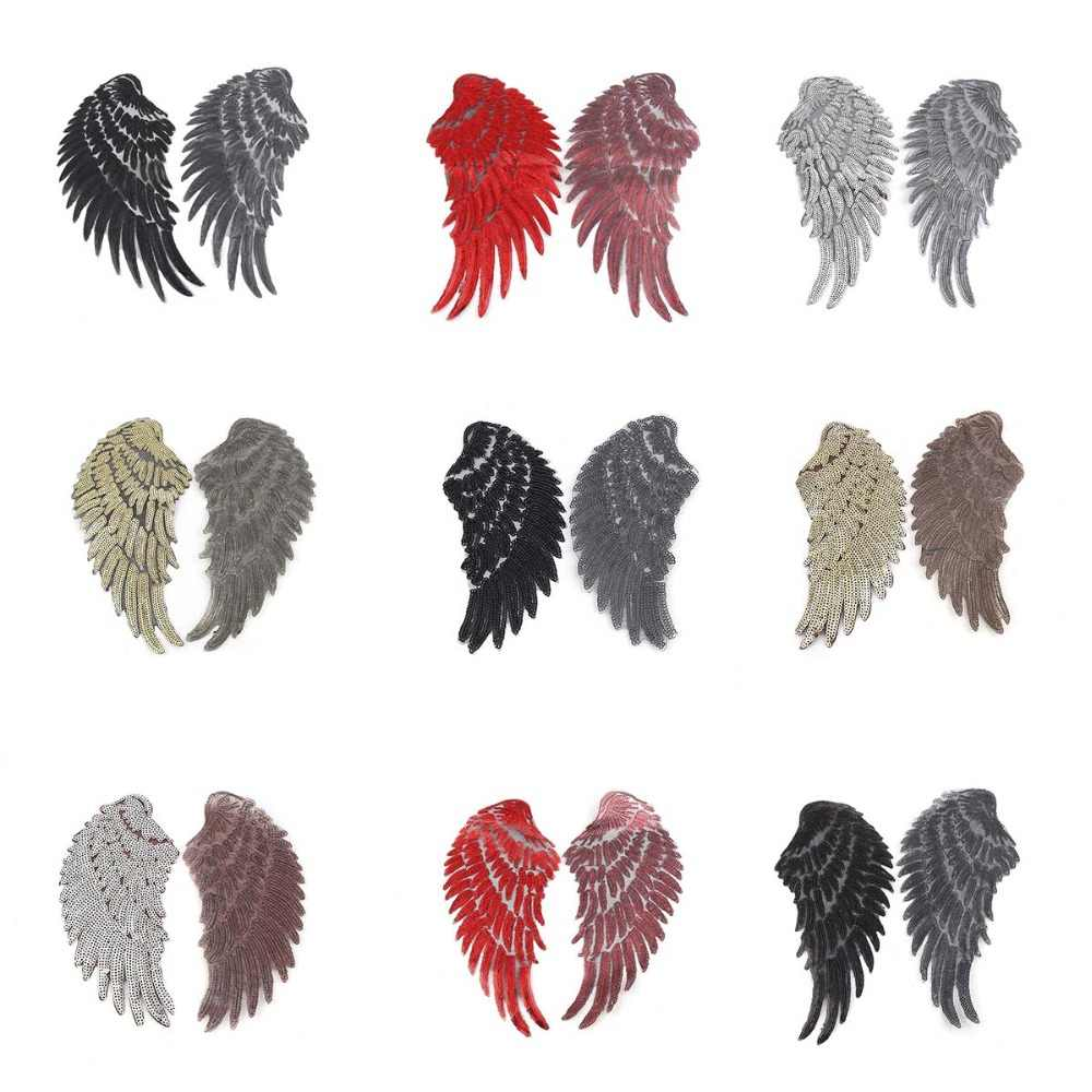 Large Sequin Patch DIY Angel Wings Patches For Kids Clothes Sew-On Embroidered Patch Motif Applique Stickers 1Pair