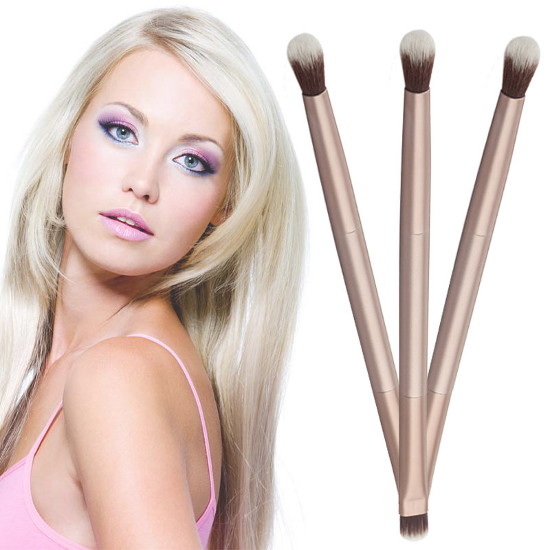 Bright 1pc Double Ended Brusher Alloy High Quality Eyeshadow Brush Eye Foundation Makeup Cosmetic Tool Delicious In Taste