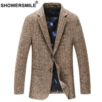 SHOWERSMILE Camel Mens Wool Blazer Slim Fit Men Casual Suit Jacket With Pockets Two Buttons Winter