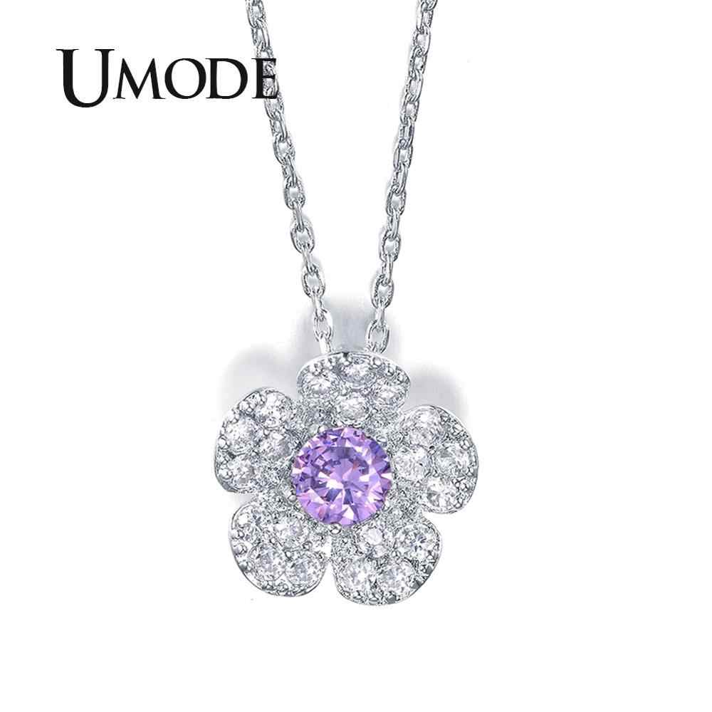 UMODE New Issued Girl's Purple Centre CZ Stone Sakura Flower Pendant Necklace Floral Cherry Necklace & Pendant for Woman UN0088