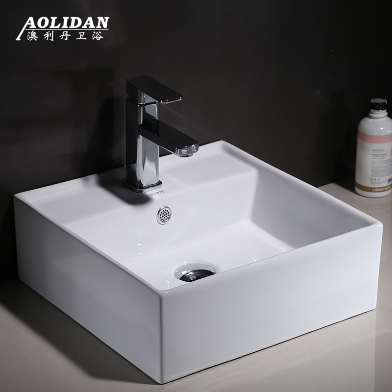 Taiwan art basin wash basin above square basin  bathroom creative personalityTaiwan art basin wash basin above square basin  bathroom creative personality