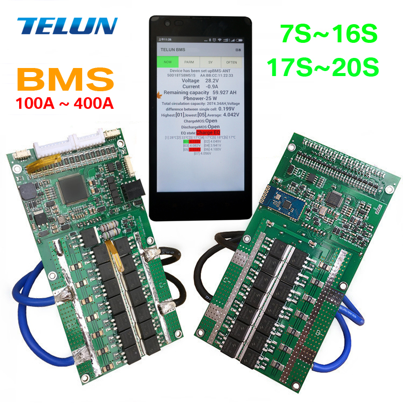 New 80 400A Intelligent Bluetooth Wireless BMS 7 20S Series Lithium Battery Protection Panel Suitable for
