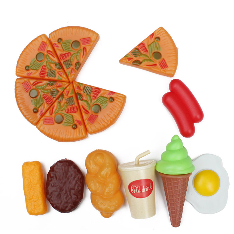 Creative 13Pcs/Set Plastic Pizza Ice Cream Drink Food Pretend Role Play Toy Early Educat ...