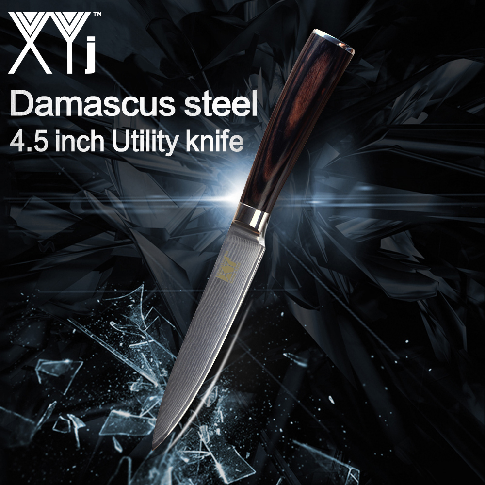 XYj Kitchen Utility Knives 4.5 inch VG10 Core Damascus Steel Japanese Style  New Arrival 2018 Knife Cooking Accessories ToolsXYj Kitchen Utility Knives 4.5 inch VG10 Core Damascus Steel Japanese Style  New Arrival 2018 Knife Cooking Accessories Tools