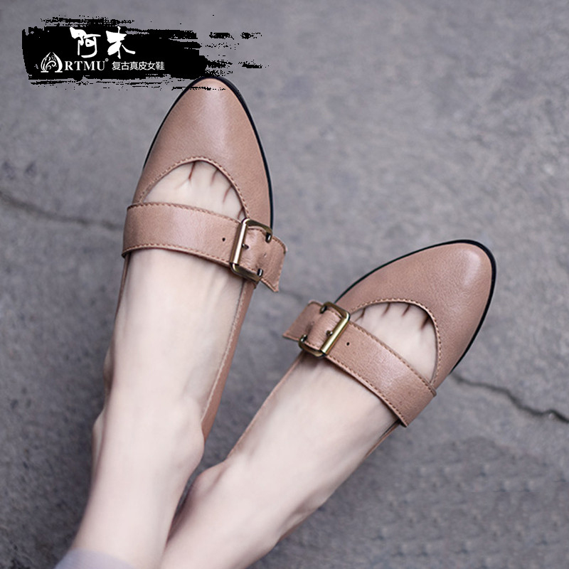 Artmu Original New Art Pointed Toe Flat Women Shoes Comfortable Soft Sheepskin Buckle Shallow Mouth Handmade Shoes 90310 цена 2017