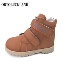 цена на Kids casual genuine leather orthopedic shoes brown navy purple pink color baby orthopedic shoes girls and boys boot23-32