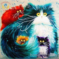 Diy Oil Painting By Numbers Abstract Acrylic Paint Animal Color Cats Decorative Canvas Painting Coloring By