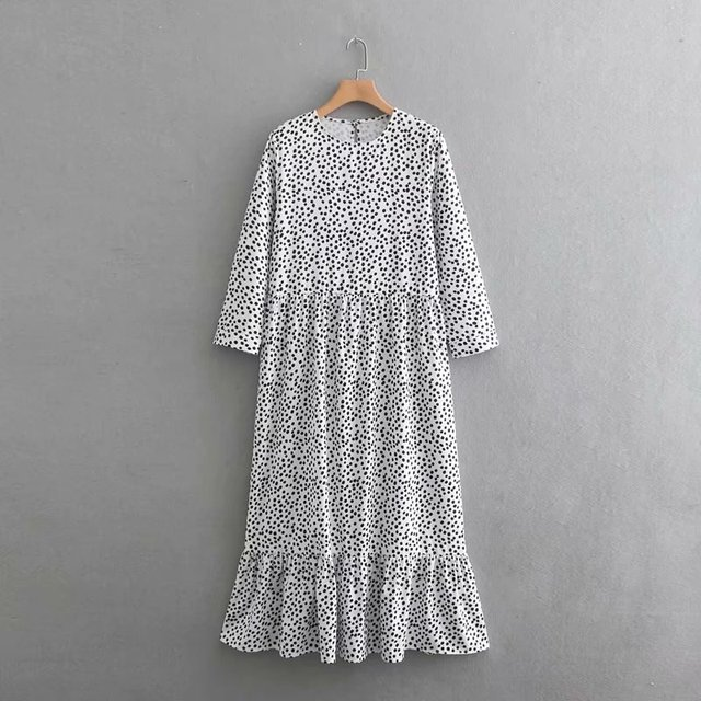 Women O Neck Three Quarter Sleeve Dots Printing Casual Long Dress Hem Ruffles Vestidos Chic Dresses Ds1908