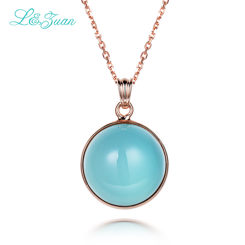 I&Zuan 925 Sterling Silver Chain With Round Natural Blue Stone Chalcedony Necklace & Pendant For Women Fine Jewelry Best GiftI&Zuan 925 Sterling Silver Chain With Round Natural Blue Stone Chalcedony Necklace & Pendant For Women Fine Jewelry Best Gift