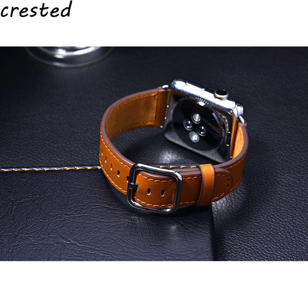 купить CRESTED leather strap for apple watch band 42mm 38mm Classic Buckle belt bracelet watchband for iwatch 3/2/1 watch strap по цене 719.66 рублей