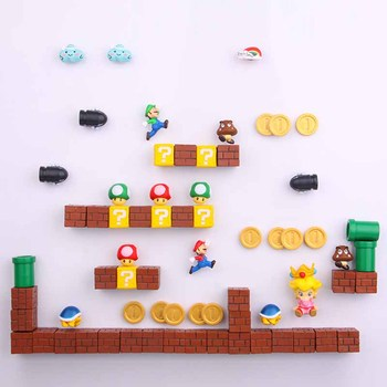 63pcs 3D Super Mario Bros. Fridge Magnets Refrigerator Message Sticker Luigi Girls Boys Kids Children Student Toys Birthday Gift