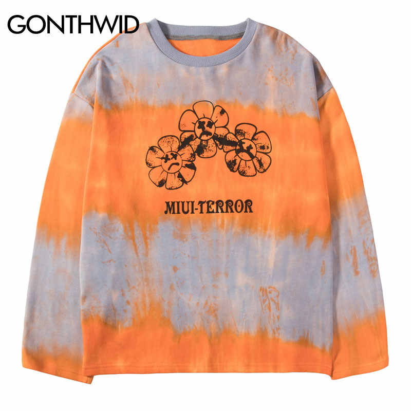 GONTHWID Blumen Emoji Print Tie Dye Übergroßen Pullover Sweatshirts Hoodies Männer Harajuku Hip Hop Hipster Streetwear Hoodie Tops