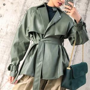 Image 4 - [DEAT] 2020 New Spring Autumn Lapel Long Sleeve Pocket Belt Bandage Loose Personality Leather Jacket Women Coat Tide 10D374
