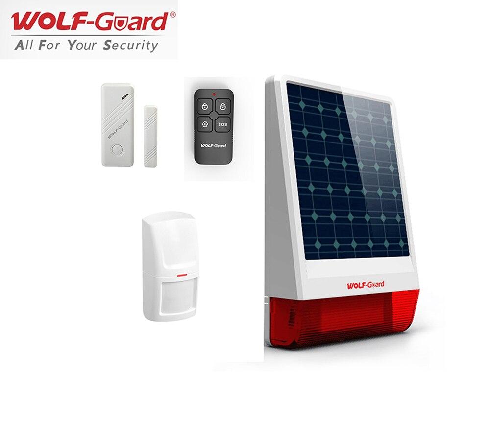 Wolf-Guard JD-W06 Wireless Home Security Alarm System DIY Kit Outdoor Weather-Proof LED Flashing Siren Burglar Alarm System