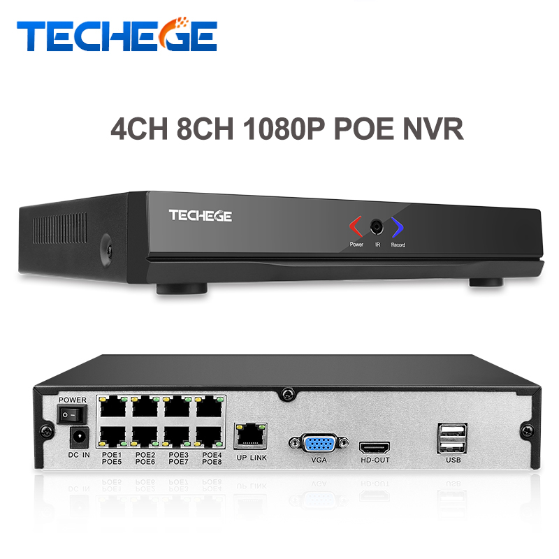 Techege 4CH 8CH Full HD Onvif 1080P 48V Real PoE NVR All-in-one Network Video Recorder for PoE IP Cameras P2P XMeye CCTV System free shipping 1080p array ip cameras 8ch onvif full hd 48v real poe nvr p2p cloud service
