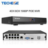 Techege 4CH 8CH Full HD PoE NVR Onvif 1080 P 48 V Rzeczywistym All-in-one XMeye Sieciowy Rejestrator Wideo dla Kamer IP PoE P2P CCTV System