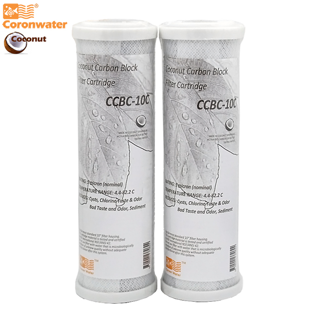 Coronwater CCBC 10C filtro de água casca de coco carvão ativado bloco ro substituição filtro de água cartucho