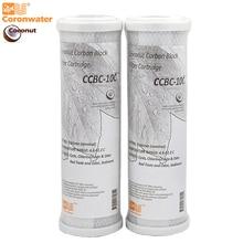 Coronwater filtro de agua CCBC 10C, carcasa de coco, bloque de carbón activado, cartucho de filtro de agua de reemplazo RO