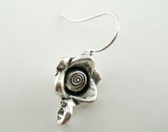 Zinc metal alloy Earring Components Earring Findings Twist Antique Silver Flower Pattern 23.4mm x 10.5mm ,2 PCs new