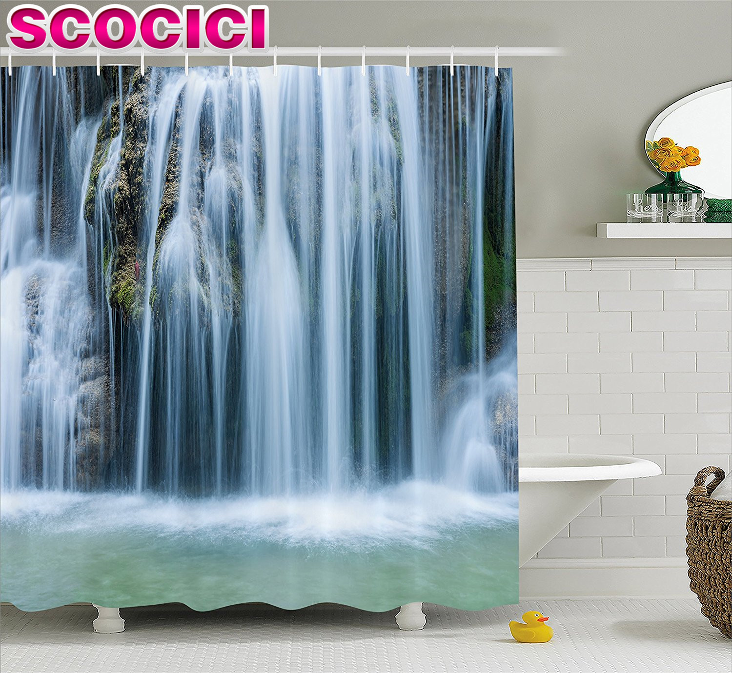 Waterfall Decor Shower Curtain Massive Magnificent Cascaded Waterfall In  Rain Forest With Intense Water Image Fabric Bathroom De