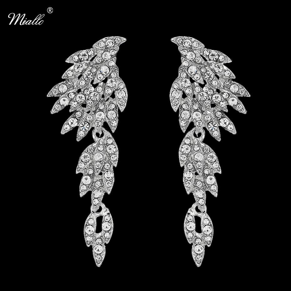 2583f9403aa7 ΞMiallo Mode Cristal Ailes Longue boucles d oreilles pendantes ...
