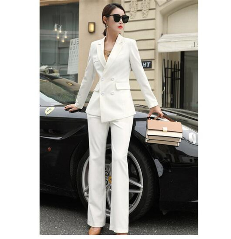 US $76.0 20% OFF|White Business Pant Suits for Women Plus Size Ladies  Double Breasted Blazer with Pants Women\'s Work Pantsuit Custom Made-in Pant  ...