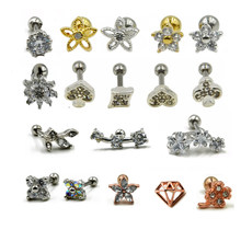 1PCS Steel Prong Set Crystal Zircon Flower Ear Cartilage Tragus Helix Earring Piercing Labret Stud Lip Ring Charming Jewelry 16g(China)