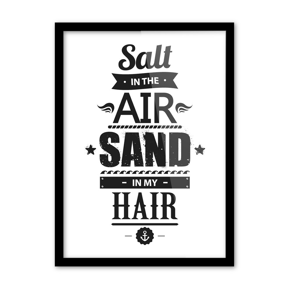Black White Motivational Sea Beach Quote A4 Large Poster Prints