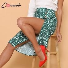 Conmoto High Waist Split Midi Skirts Women Button Green Leopard Dot Print Casual Chic Summer Skirt Sexy High Fashion Boho Skirt