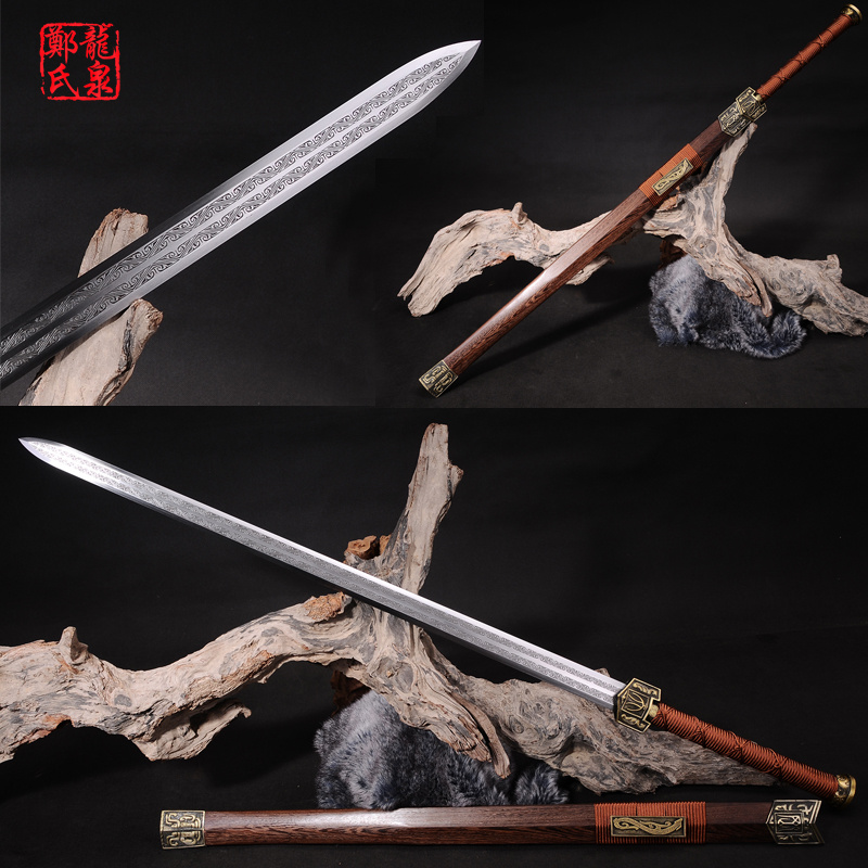 Real Chinese Sword Double Edges Blade Manganese Steel Collectible Red Rose Wood-Sharp Home Decoration-Twin Handed Sword