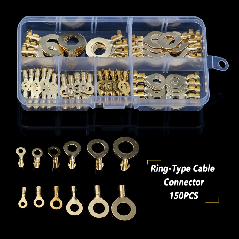 YT 150PCS/Set M3-M10 Brass Ring Cable Lugs Ring Eyes Assortment Set Non-insulated Crimp Cable Connector For Household Appliances