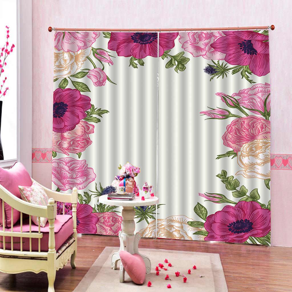 Fenêtre de rideau 3d belles fleurs et feuilles beaux et pratiques rideaux d'impression numérique 3d