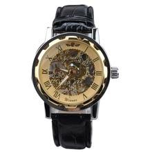 2017 New Sport Watch Men Luxury Gold Dial Skeleton Hand Wind Mechanical Wristwatch Men Casual Business Watch Relogios Masculino