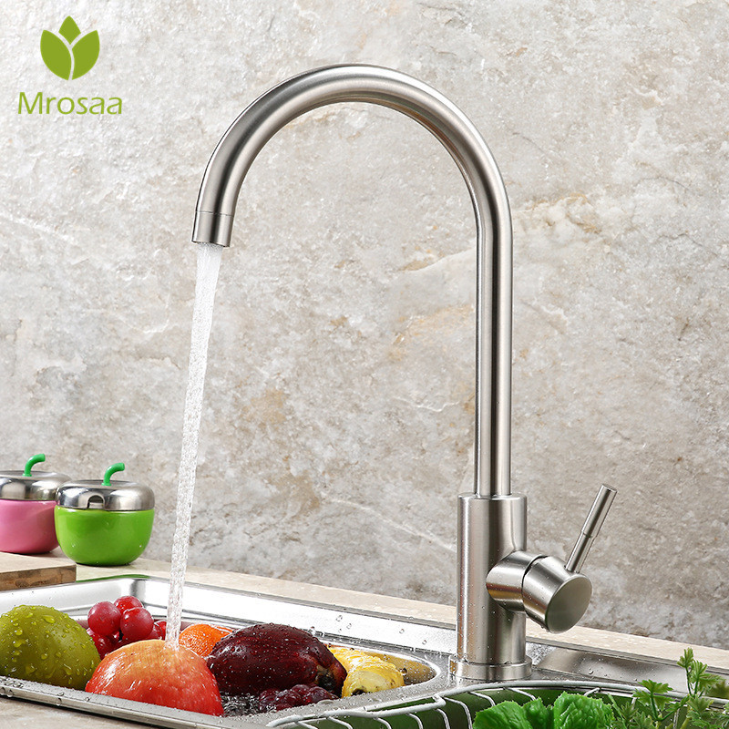 Kitchen Faucet 360 Rotate Silver Mixer Faucet For Kitchen Hot And Cold Water Mixer Tap Swivel Deck Mounted Crane For Sinks