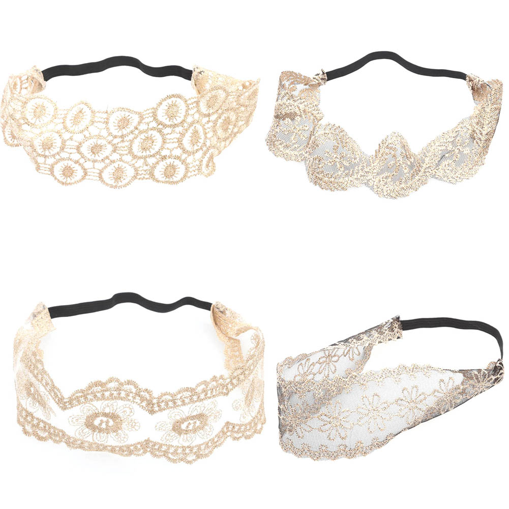 Giraffita Fashion Women Girls Hollow Lace Flower Headband Retro Hair Band Wide Head Wrap Accessories Cloth Lace Lace Band