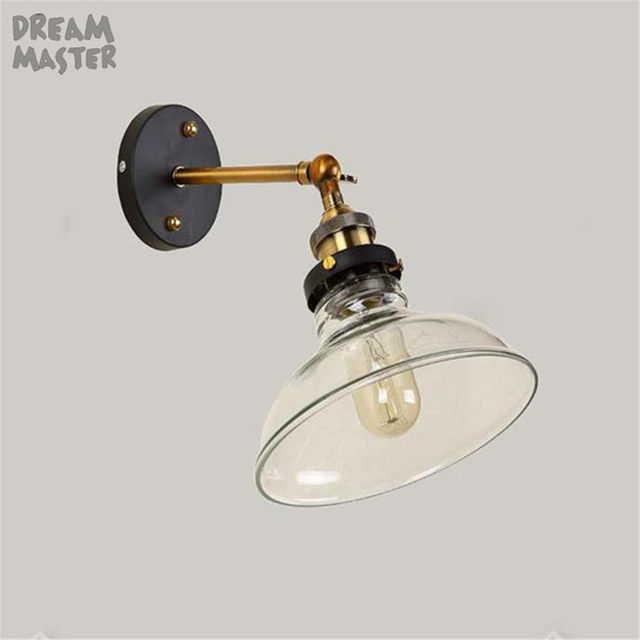 Vintage Wall Light Clear Glass Lampshade Iron E27 110V220V Lampholder Adjustable Angle Lamp Sconces For Shop Store Decor
