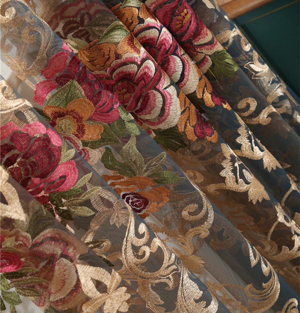 French romantic Peony embroidery window yarn curtain luxury water soluble embroidery curtains in Curtains from Home Garden