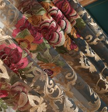 French romantic Peony embroidery window yarn curtain luxury water-soluble curtains