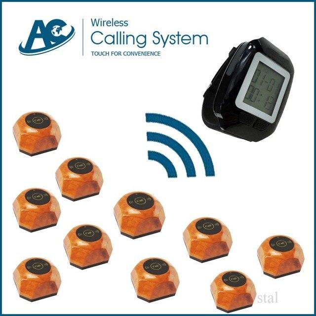 1 reloj y 10 botones de tabla del sistema de llamada del restaurante wireless sistema de llamada del camarero sistema de llamada del restaurante sistema de llamada de campana