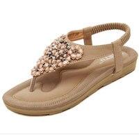 Woman Summer Flower Rhinestone Casual Women S Sandals 2017 New Fashion Bohemia Beach Shoes For Woman