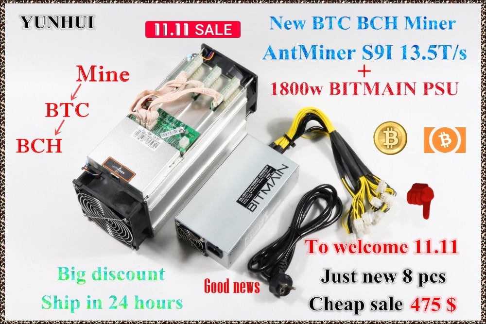 New AntMiner S9i 13.5T With BITMAIN APW7 1800W Bitcoin BCH SHA-256 Miner Asic Miner Newest 16nm Btc Miner Bitcoin Mining Machine цена