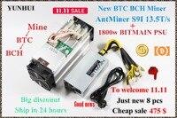 New AntMiner S9i 13.5T With BITMAIN APW7 1800W Bitcoin BCH SHA 256 Miner Asic Miner Newest 16nm Btc Miner Bitcoin Mining Machine