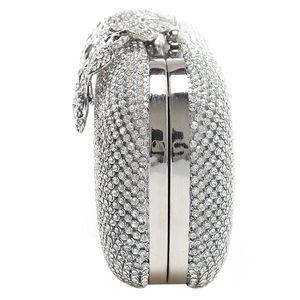 Image 4 - Frauen Abend Tasche 2018 Blume Kristall Kupplung Taschen Hochzeit Geldbörse Strass Kette tasche Schulter