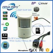 960P Audio Wifi Wireless Mini IP Camera 940nm Night Vision IR Camera IP Cam Indoor Security CCTV Pinhole IP Camera SD Card Slot