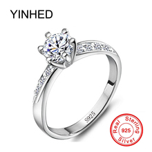 YINHED Real Solid 925 Sterling Silver Rings Set 6mm 1 Carat CZ Diamant Zircon Stone Engagement Wedding Rings for Women ZR048